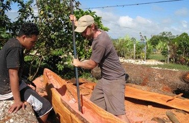 Dan Hammer '07, building, an outrigger canoe in the South Pacific as a Watson Fellow