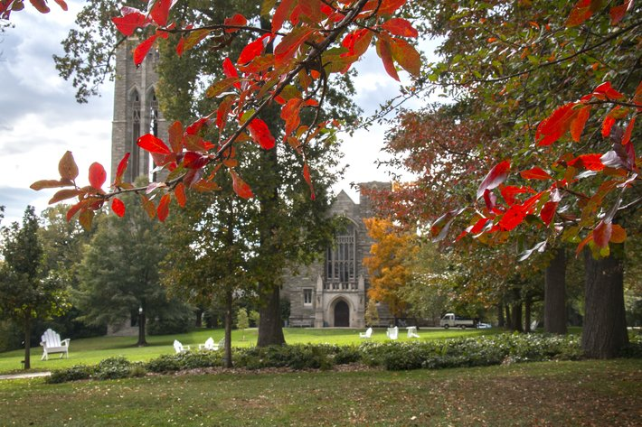 Clothier Hall with fall leaves