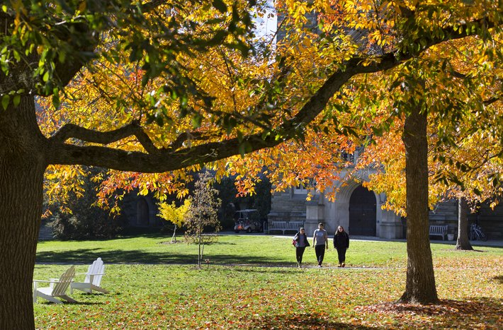 Students walking across Parrish Beach with fall foliage