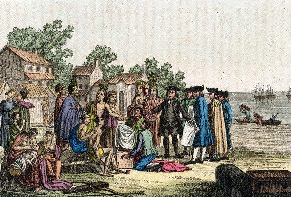 """Colored book illustration, """"Guglielmo Penn, alla fondazione di Filadelfia"""""""