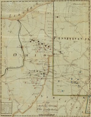 Manuscript map of Ohio Yearly Meeting in 1827
