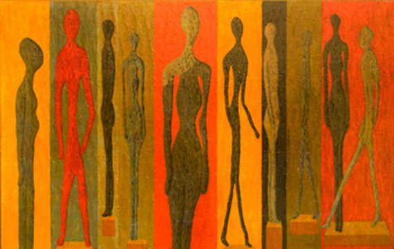 Oil on canvas of different body shapes and sizes