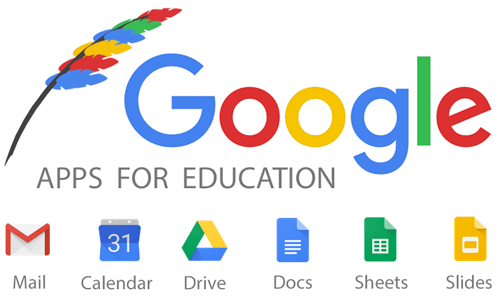 Google apps for education include mail, calendar, drive, docs, sheets and slides