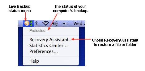 Live Backup status menu