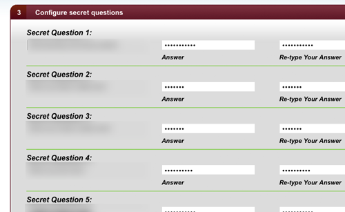 Configure secret questions