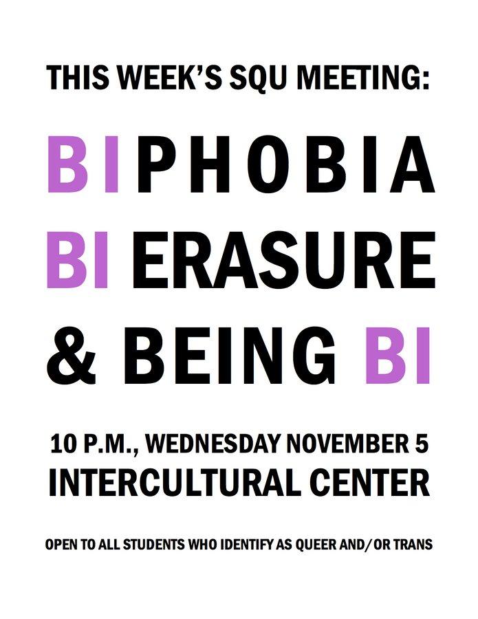 SQU Meeting: Bi-phobia, Bi-erasure, and Being Bi