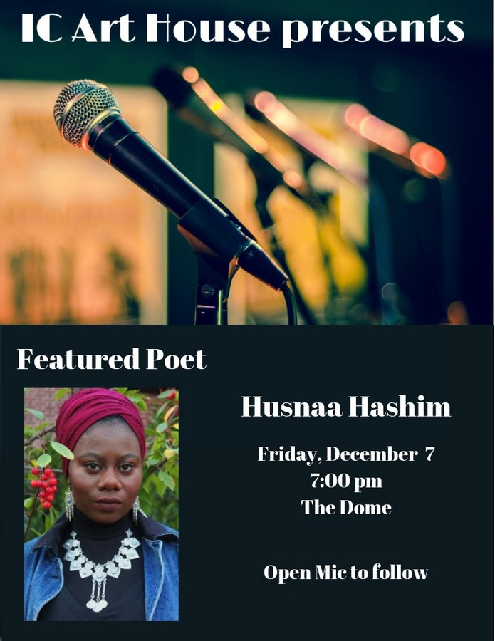 photo of featured poet Husnaa Hashim, Dec. 7, 2018 in IC Dome