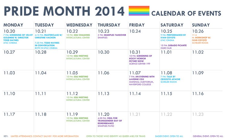Pride Month calendar