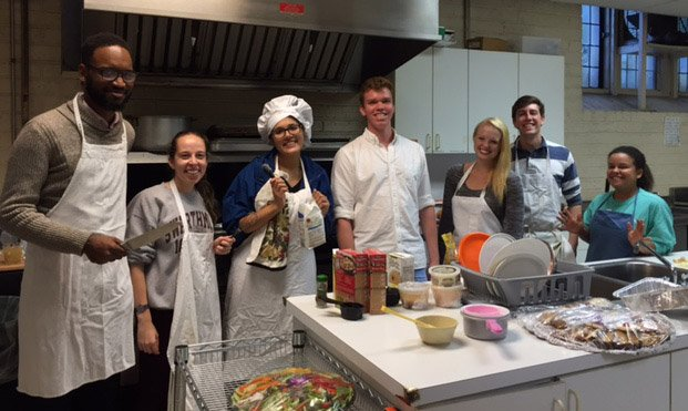 Swarthmore students in the kitchen