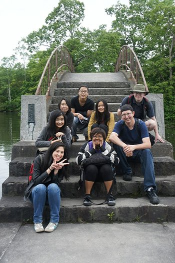 Swarthmore students studying abroad in Japan.