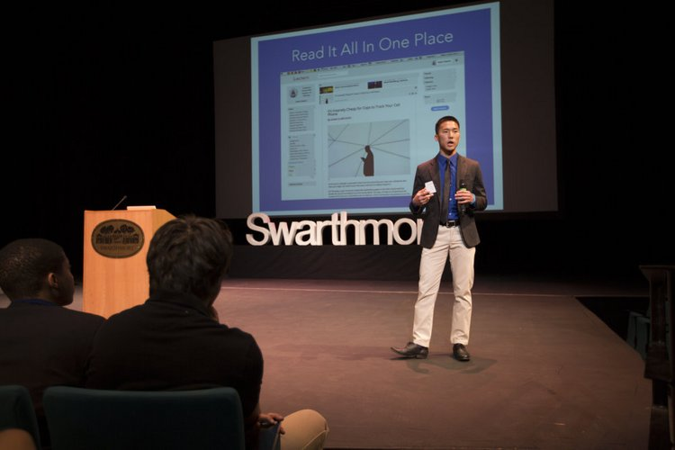A student presents during SwatTank 2014