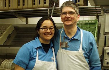 Learning for Life - Roseanna, a student, and Tony, a staff member, working together in Sharples dining kitchen