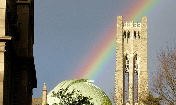 A rainbow over the Clothier Bell Tower