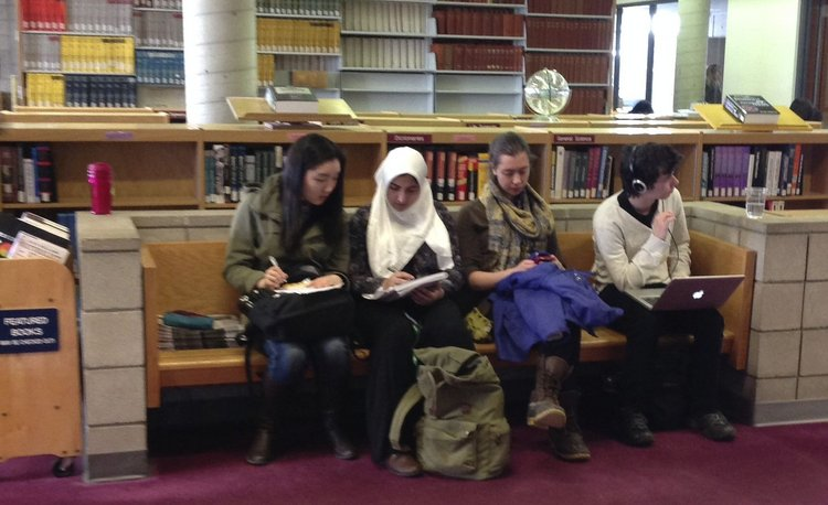 Students in Cornell Library