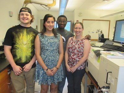 Deondre Jordan '19 and Amber Sheth '18 with Dr. Amanda Reig and student Brian Van Dyke from Ursinus College