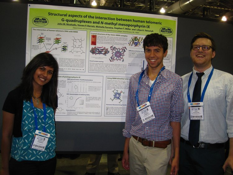 Michelle, Steven, and Jack presenting their poster at the ACS conference.
