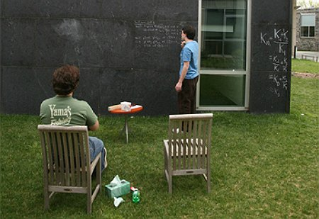 The blackboard wall in our garden is a popular place to collaborate with fellow students