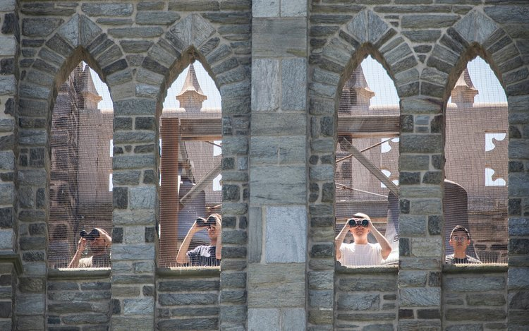 Students at top of bell tower