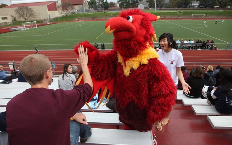 Phineas the Phoenix in bleachers high fiving fan