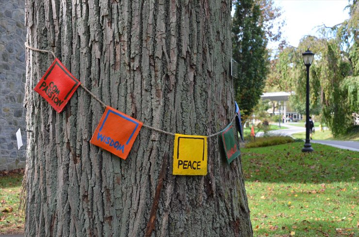 Flags around campus trees