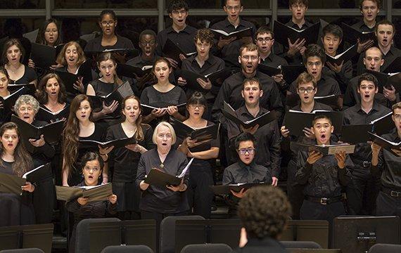 The College Chorus rehearses.