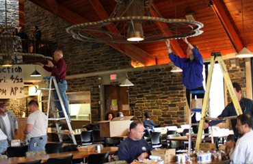 students, staff switchout sharples lightbulbs