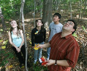 Jose-Luis Machado and students in Crum Woods