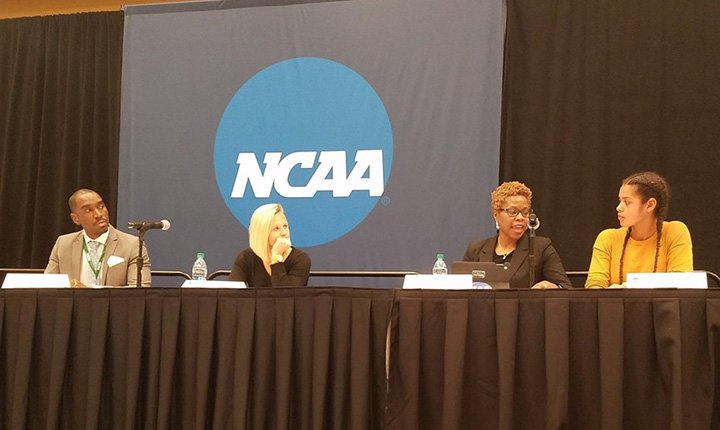 Emma Morgan-Bennett '20 speaks at an NCAA Panel