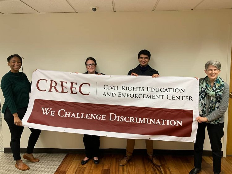 The Civil Rights Education and Enforcement Center (CREEC) welcomed Shaurya Bhaskar '22 and Sophia Peterson '23. The pair was hosted by paralegal Marième Diop '18, and Co-Executive Director Amy Robertson '83.