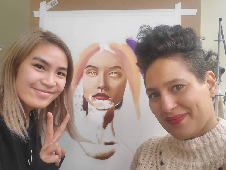 Eva Low '22 spent her externship with Jessica Cuni '00, head of the visual arts program and chair of Choate Rosemary Hall's  Equity and Inclusion faculty committee.