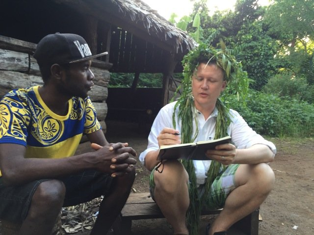 Linguist K. David Harrison consults with Chris Nevehev, a speaker of the Aneityum language..