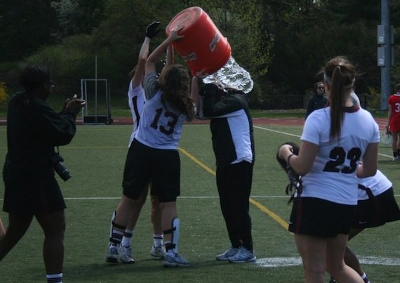 Karen Borbee getting Gatorade bath