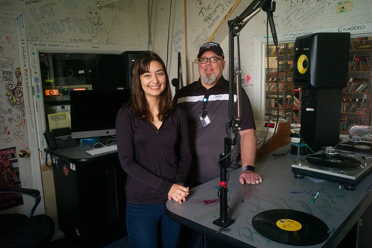 Student with EVS Staff member at WSRN radio station