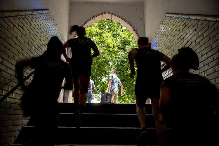 Students run into Wharton courtyard