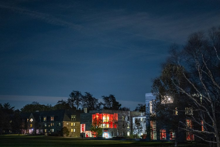 Mertz, David Kemp, and Alice Paul residence halls at night