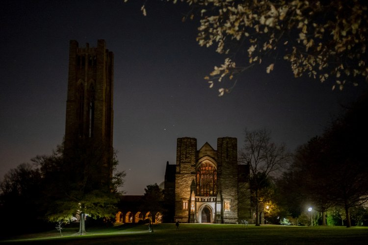 Clothier Bell Tower at night