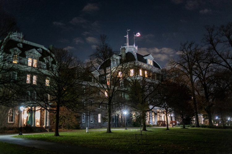 Parrish Hall lit up at night