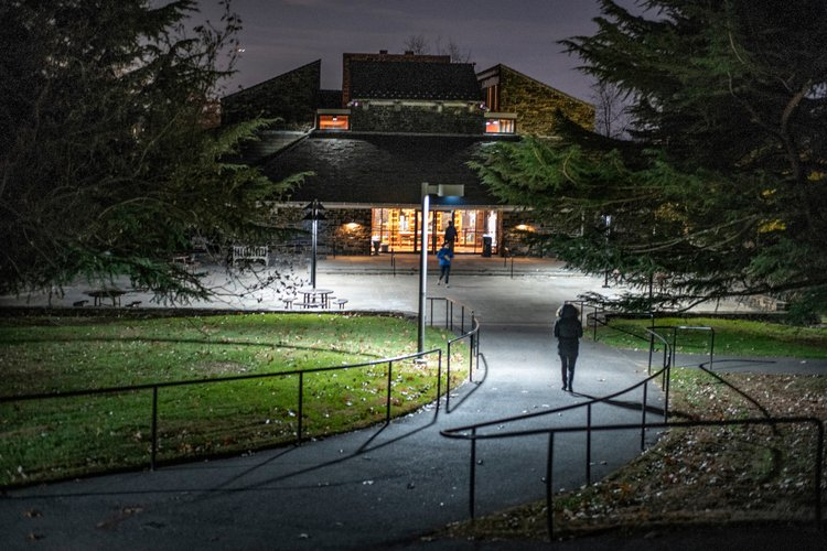 Entrance to Sharples Dining Hall at night