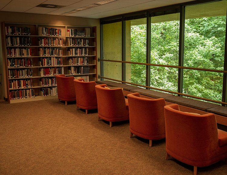 Chairs facing window in Underhill library