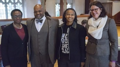 Leslie Callahan, first female pastor of the St. Paul's Church in Philadelphia, spoke at the College's annual Dr. Martin Luther King Jr. Day luncheon