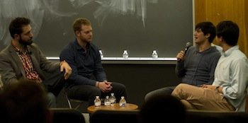 Alexis Ohanian and Bryan Baum '11 with students