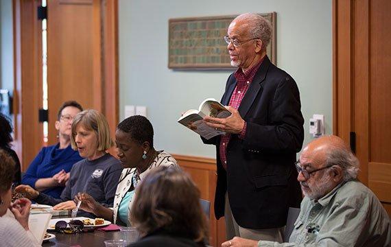 Maurice Eldridge '61 speaks at the book club