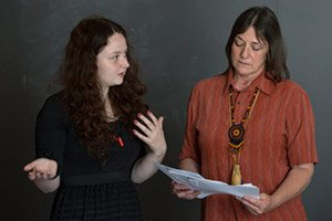 Holly Smith '14 and Shelley DePaul, instructor of linguistics and chief of Pennsylvania Lenape Nation, lead the language-revitalization effort.
