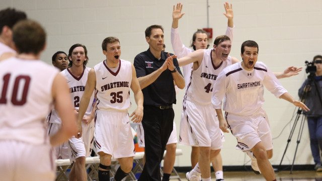Garnet Men's Basketball celebrate a victory