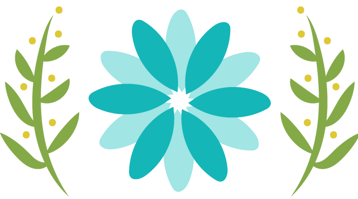Cartoon logo of flowers surrounded by olive branches