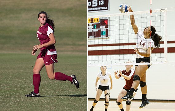 Women's soccer team top scorer Hannah Lichtenstein '17 and women's volleyball leading attacker Sarah Wallace '18.