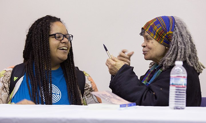 Tiauna Lewis '19 and Sonia Sanchez