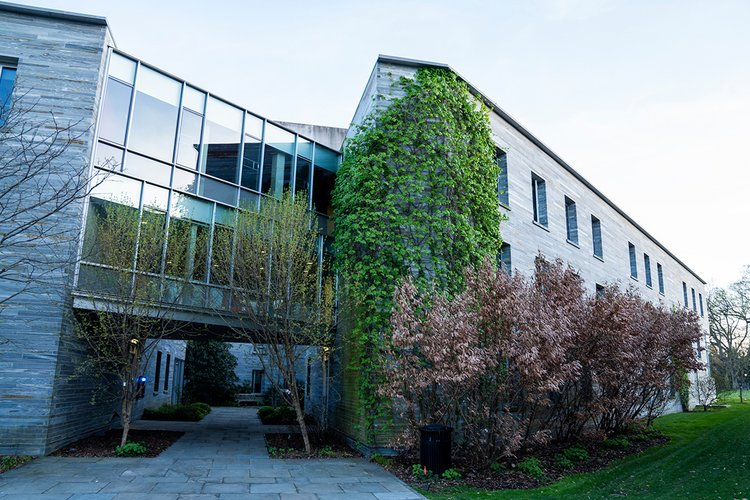 Building with large windows behind trees in full bloom