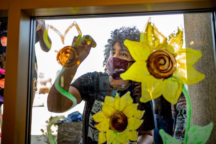 Student wearing mask paints flowers on window.