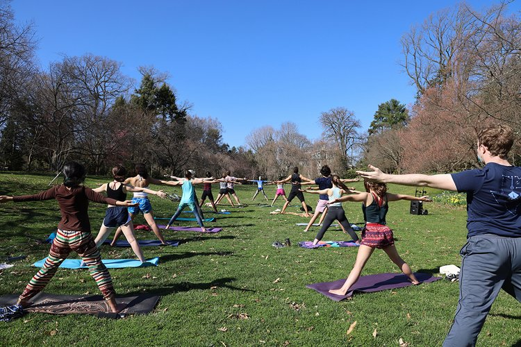 Students practice yoga outdoors, posing with legs wide and arms outstretched.